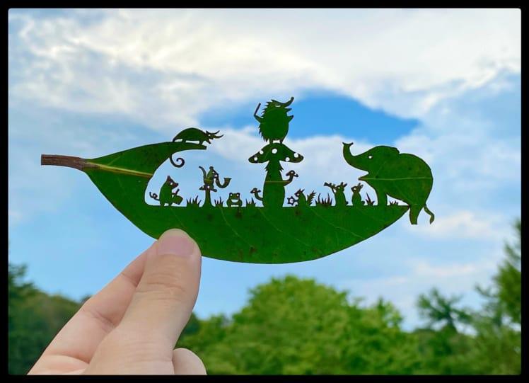 リトさんの葉っぱ切り絵「森の演奏会」